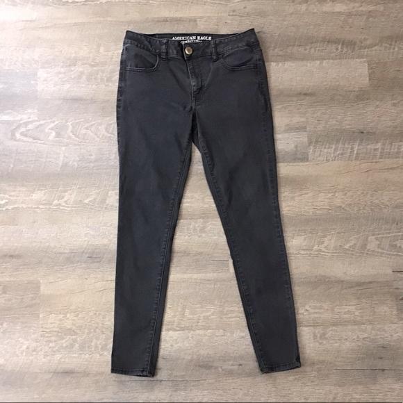 AEO black super super stretch jean